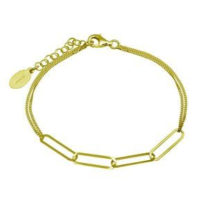 "Jewelry - Gold Plated Thin Curb Link Chain Bracelet 7"" 7.5"""